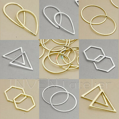 20x Metal Frame Geometric Shapes Charms Pendants Earring Findings Connectors