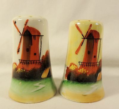 HAND PAINTED WINDMILL  SALT & PEPPER SHAKERS Made in Japan