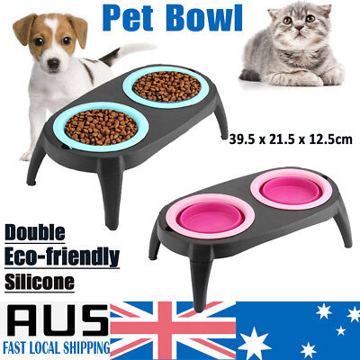 Double Pet Bowl Dog Cat Food Water Raised Lifted Stand Pair Elevated Silicone AU