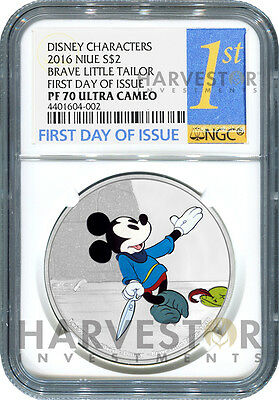 Disney Mickey Through The Ages: Brave Little Tailor -Ngc Pf70 First Day Of Issue