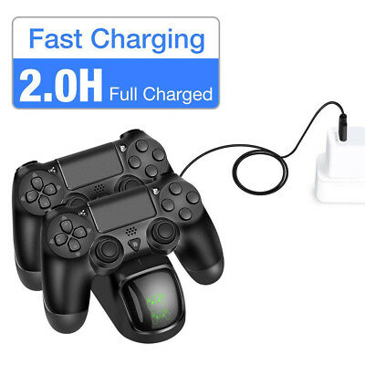for PS4 Controller Fast Charging LED Charger Station Stand Dual USB Port Base