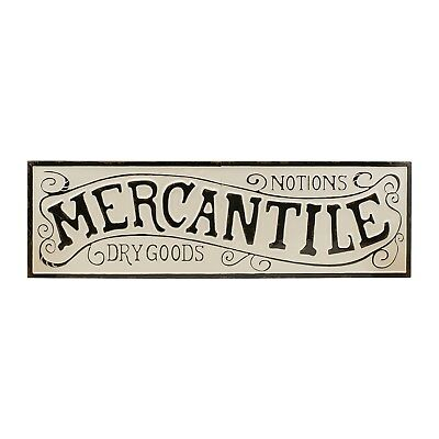 """Vintage Inspired """"Mercantile"""" Wall Sign Antique White and Black Embossed Metal"""