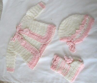 Vintage Baby Infant 4 Piece Crocheted Sweater, Booties & Hat Set JAPAN 1950S