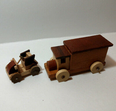 Vintage Loquai Wooden Train West German and car wood vehicles