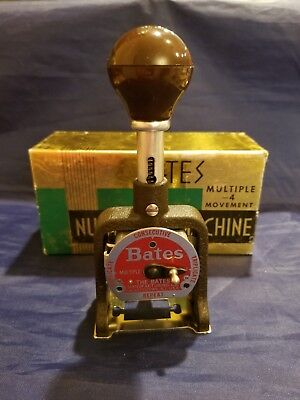 Vintage Bates Numbering Machine Stamp, 6 Wheels / E Style 4 Movements Box