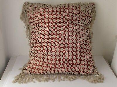 Antique Hand Crochet Pillow with Tiny Crochet Unique Pattern with Fringe