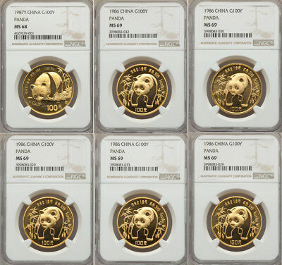 6 Coins 1 oz 1986 Gold Panda People's Republic gold Panda 100 Yuan (1 oz.) NGC