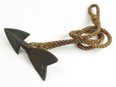 Antique Bronze Tuna Dart on Original Hemp Rope Loop Fishing Harpoon