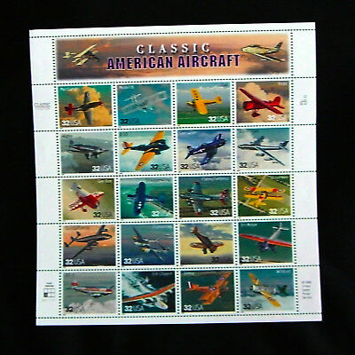 "U.S. Postage Stamps: sheet ""Classic American Aircraft"" (1996), 20 x .32 cent"