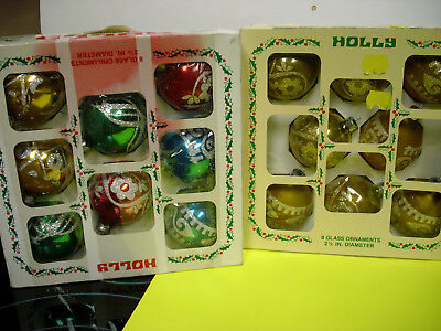 2 Box Lot vintage Holly brand ornament bulbs xmas glass glitter