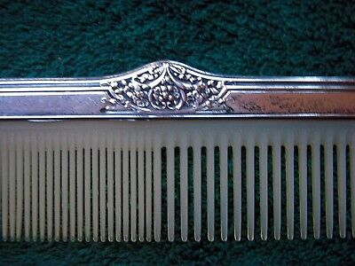 "Antique Sterling Silver Comb  7 3/4"" long"
