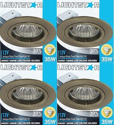4 x Antique Brass Fixed Downlight Kits 12V 35W MR16 Halogen Dimmable 70mm cutout