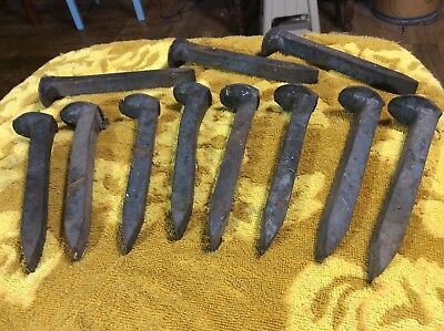 11 Vintage Railroad Spikes Antique Blacksmith Train Track RR 6.5""