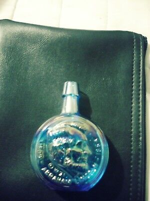 Vintage 1971 Blue Carnival Glass Abraham Lincoln mini decanter Bottle Wheaton