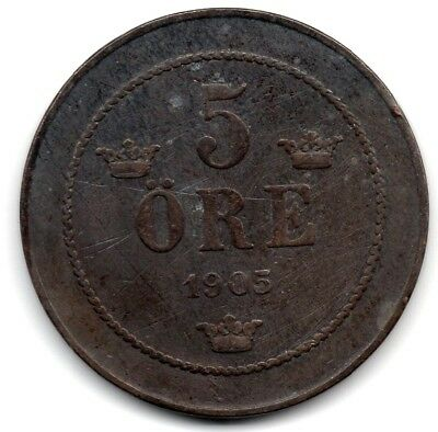 1905 Sweden - 5 Ore - King Oscar Ii - Bronze