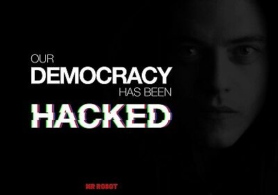 Poster A2 Mr. Robot Democracy Has Been Hacked Serie Cartel Decor Impresion 03