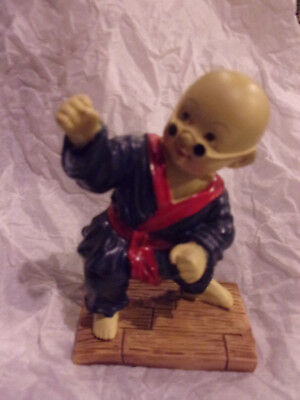 Little Monk Of Chinese Shaolin Kung Fu Boy Resin Figurine Figure Navy Blue Robe