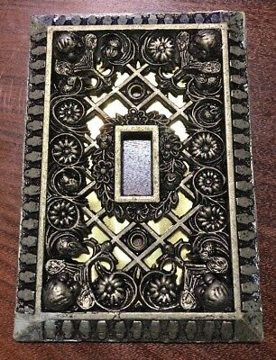 Vintage ORNATE Heavy Duty Brass GOLD FOIL Light Switch Cover Plate Antique