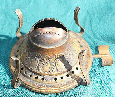 "Fancy Antique Bridgeport Brass ""The Upton"" kerosene oil lamp burner Pat 1892"