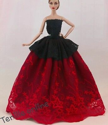 New Barbie clothes/ outfit / princess/wedding dress red black lace and shoes x1