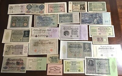 Lot Of 24 OLD German Banknotes Foreign World Currency Nice Mix All Very Old .99