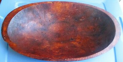 Antique Primitive EARLY 1800's Wooden Dough Trencher HEART OF PINE Hand Carved