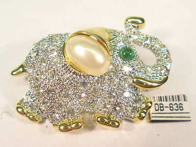 DESIGNER  ELEPHANT PIN BROOCH  with  SWAROVSKI CRYSTALS & faux PEARL  #636