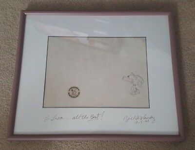 Snoopy w/ Bowl Drawing Cel Framed Signed by Bill Melendez Peanuts Film Gallery