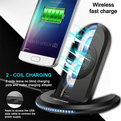 Qi Wireless Fast Charger Charging Pad Stand Dock For Samsung Galaxy Note 9 / S9