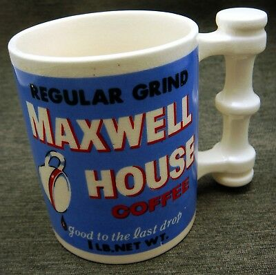 Vintage Early Japan Maxwell House Coffee Mug Cup Strange Handle Design