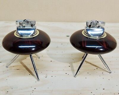 Pair of vintage spaceship table lighters