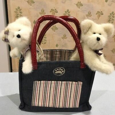 Boyds Bear Blue Denim Chambray Tote Bag With Striped Liner And Extra Bears Lot