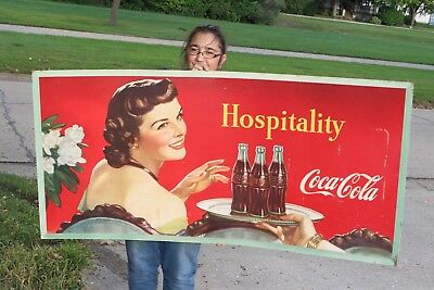 "Rare Large Vintage 1948 Coca Cola Soda Pop Bottle Gas Station 57"" Sign"