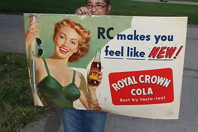 "Large Vintage c.1950 RC Royal Crown Cola Soda Pop Gas Station 39"" Sign"
