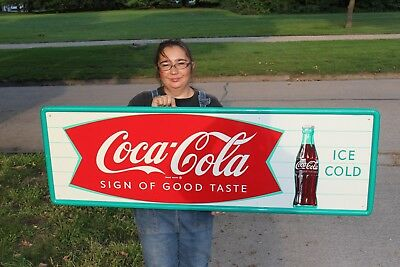 "Large Vintage c.1960 Coca Cola Fishtail Soda Pop Gas Station 54"" Metal Sign~Nice"