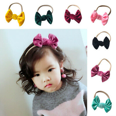 Kids Girl Baby Headband Toddler Velvet Bow Hair Band Accessories Headwear