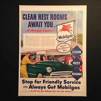 Mobilgas Clean Rest Rooms 1952 Chevy Vintage Print Ad