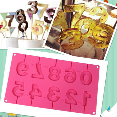 Numbers Shape Silicone Lollipop Fondant Chocolate Mold Birthday Cake Decor BS