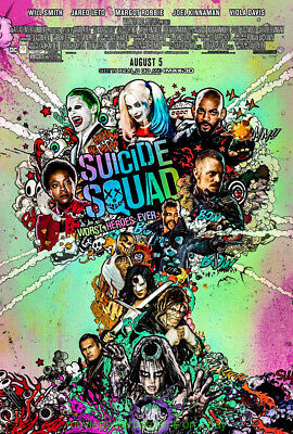 SUICIDE SQUAD MOVIE POSTER Double Sided 27x40 DS Rated HARLEY QUINN WILL SMITH