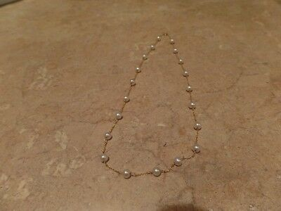 14k SOLID GOLD NECKLACE WITH PEARLS, SIZE 16 INCHES. WEIGHT 5 GRAMS, EXCELLENT