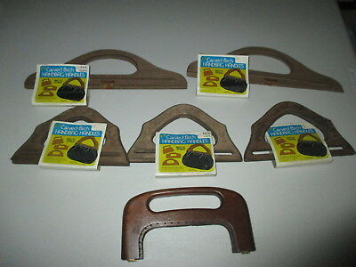 LOT of 6 PAIRS VINTAGE 70's WOOD WOODEN PURSE HANDBAG HANDLES ~ NEW WITH TAGS