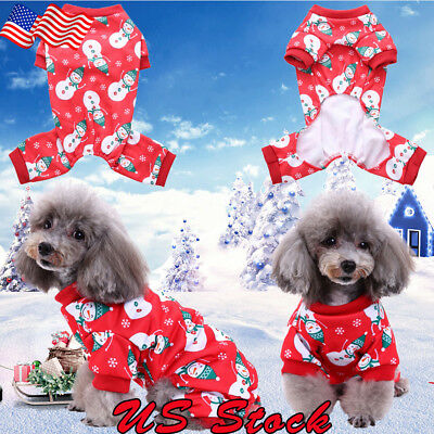 Christmas Pullover Hoodies Dog Clothes Cat Santa Pet Dog Shirt Puppy Sweater US