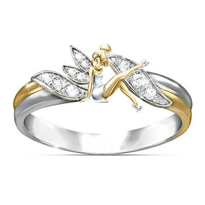 Lovely Fashion Women Crystal Zircon Angel Fairy Silver Gold Plated Band Ring