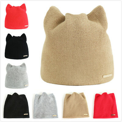 Women Lady Winter Solid Color Beanie Cap Casual Warm Cute Cat Ear Knitted Hat