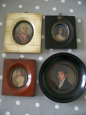 Set 4 Antique Style Miniature Portraits All Different Frames With Glass & Hanger