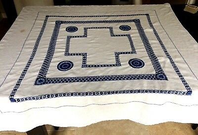Pretty Vintage Linen  Tablecloth With Blue Lace Work