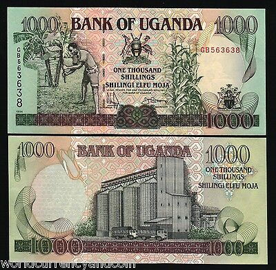 UGANDA 1000 SHILLINGS P36 a 1994 HORSE TRUCK UNC AFRICA CURRENCY MONEY BILL NOTE