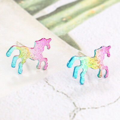 Cute Rainbow Unicorn Earrings Glitter Colorful Horse Ear Stud Kids Girls Jewelry
