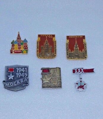 set of 6 Soviet (USSR) Russian metal Pin Badge, Moscow 100% Original!