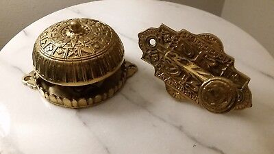 VINTAGE Heirloom Brass Co. VICTORIAN BRASS ORNATE DOOR BELL New Old Stock
